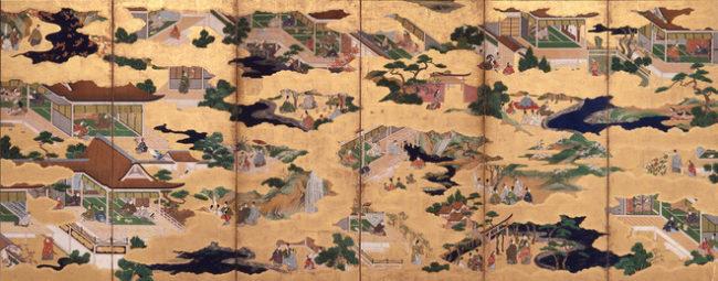 《伊勢物語図屛風》(左隻)