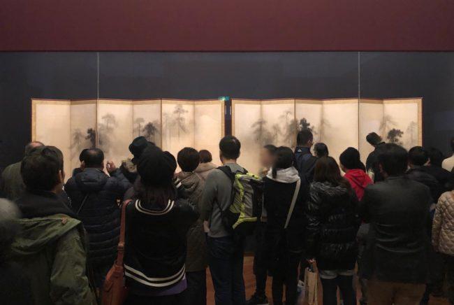東京国立博物館蔵国宝《松林図屏風》展示風景
