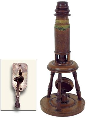 『レーウェンフックの単式顕微鏡』『18世紀の複式顕微鏡』