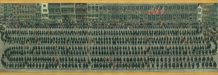 デニス・ファン・アルスロート《ブリュッセルのオメガング もしくは鸚鵡(オウム)の祝祭:職業組合の行列》