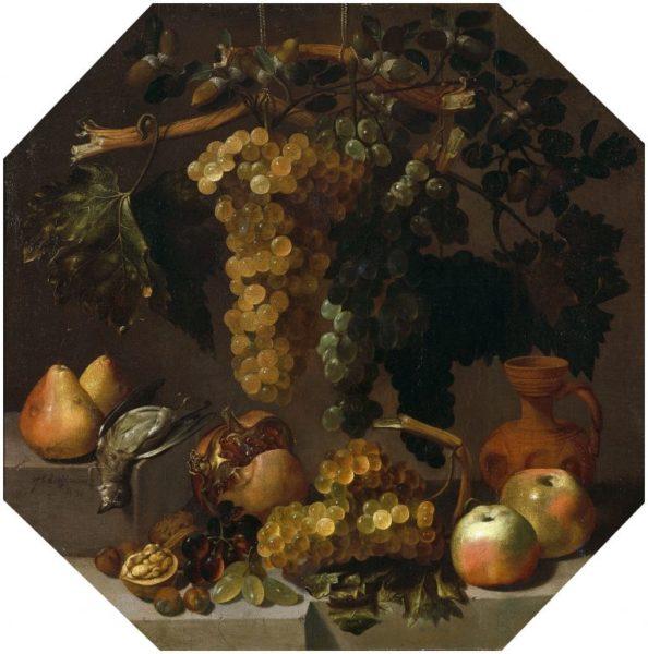 フアン・デ・エスピノーサ《ブドウのある八角形の静物》