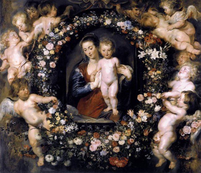 ペーテル・パウル・ルーベンス、ヤン・ブリューゲル1世《花環の聖母子》