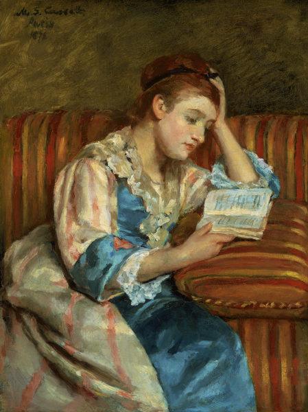 メアリー・スティーヴンソン・カサット 《縞模様のソファで読書するダフィー夫人》