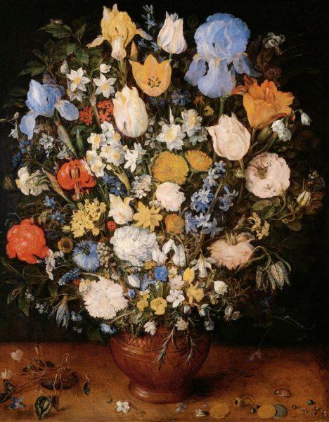 ヤン・ブリューゲル(父) 《陶製の花瓶に生けられた小さな花束》