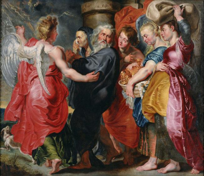 ヤーコプ・ヨルダーンスに帰属、 ルーベンスの構図に基づく《ソドムを去るロトとその家族》