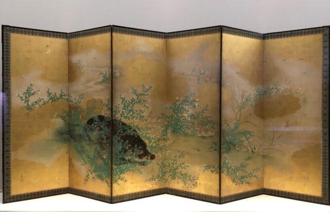 望月玉泉《萩野猪図屏風》