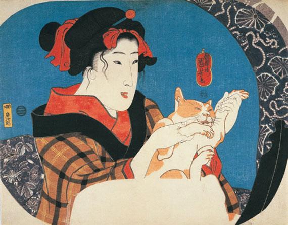 歌川国芳《鏡面シリーズ 猫と遊ぶ娘》