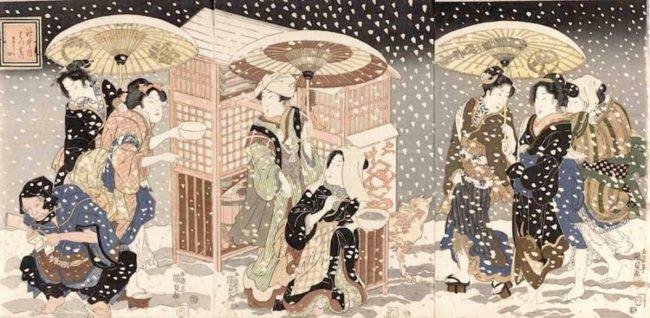 歌川国貞《神無月はつ雪のそうか》