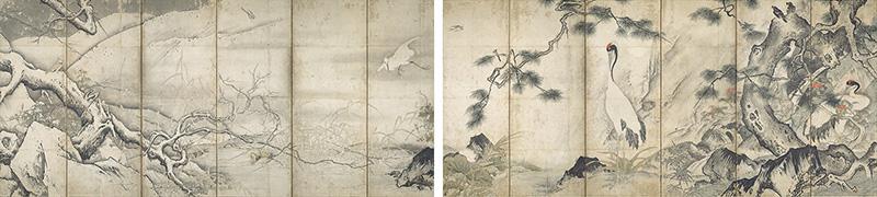雪舟等楊《四季花鳥図屛風》